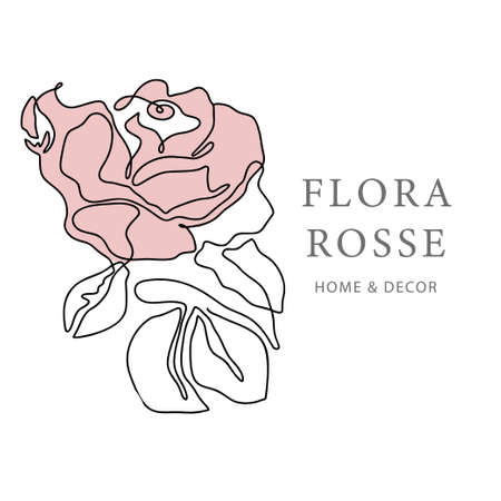 Outline rose one line flower and poster art. Abstract vector plant trendy icon. Modern nature beauty pink romantic shape.