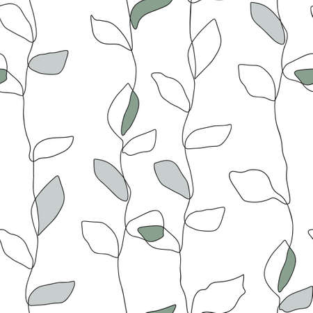 Abstract nature one line leaf vector design. Leaves seamless pattern background. Minimalist shape print