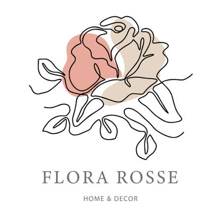 Outline rose one line flower and poster art. Abstract nature colors vector plant trendy icon. Modern nature beauty romantic shape. 矢量图像