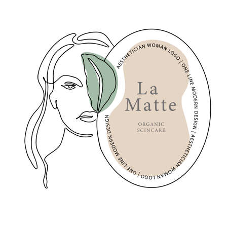 Woman face one line contour modern logo. Female girl abstract beauty portrait fashion elegant vector icon. Trendy single line art romantic lady. Simplicity nature color design.
