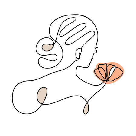 Woman face one line contour modern logo Elegant girl with flower. Vector illustration