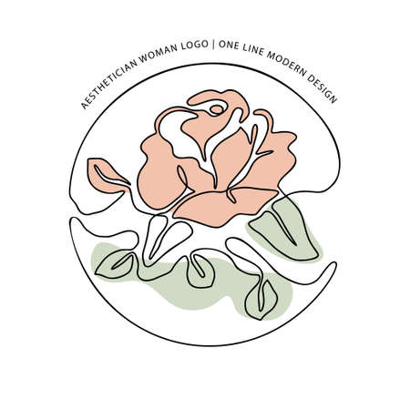 Outline rose one line flower logo and poster art. Abstract nature colors vector plant trendy icon. Modern nature beauty romantic shape.