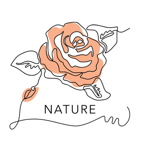 Outline rose one line orange flower logo and poster art. Abstract vector plant trendy icon. Modern nature beauty romantic shape.