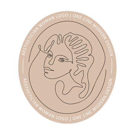 Woman face one line contour modern logo. Female girl abstract beauty portrait fashion elegant vector icon. Trendy single line art romantic lady. Simplicity silhouette design. 矢量图像