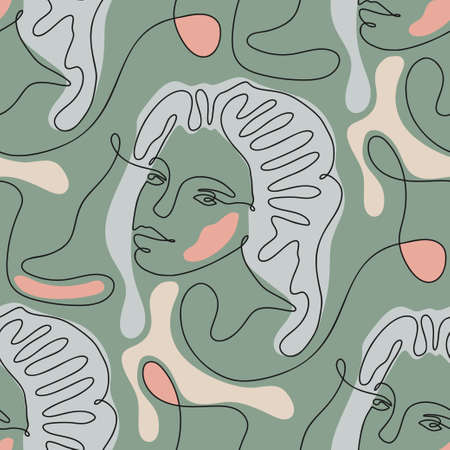 One line seamless modern nature green color pattern. Minimal young woman face simplicity mystic artwork. 矢量图像