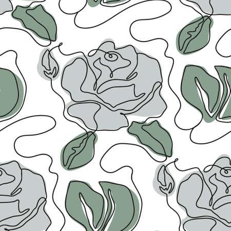 One line seamless modern pattern. Rose flower modern simplicity contemporary vector illustration.