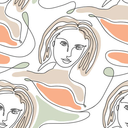 One line seamless modern nature color pattern. Minimal young woman face simplicity artwork. 矢量图像