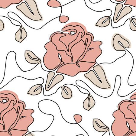 One line seamless modern pattern. Rose flower modern simplicity vector illustration