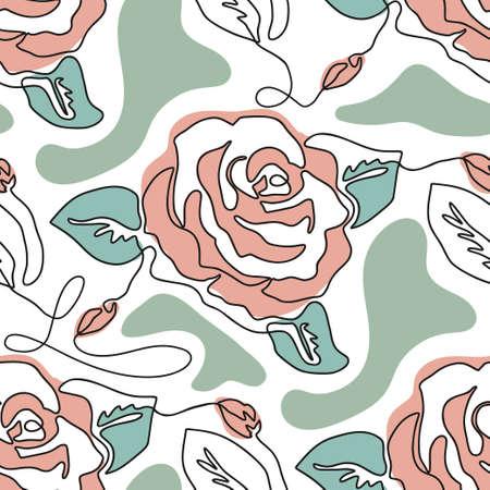 One line seamless modern pattern. Rose flower modern simplicity vector illustration. Hand drawn single line contemporary art.