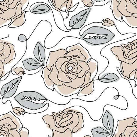 One line seamless modern pattern. Rose flower modern simplicity vector illustration.