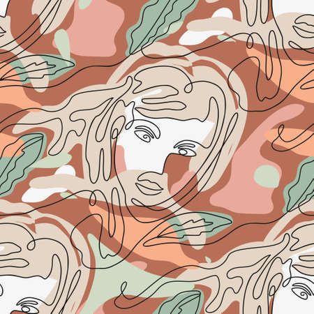 One line seamless modern nature color pattern. Minimal young woman face portrait simplicity artwork.