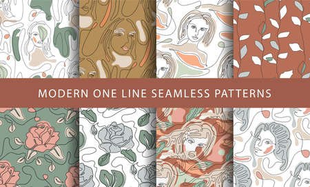 One line seamless modern pattern. Minimalist minimal young woman and rose flower simplicity artwork set.