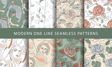 One line seamless modern pattern with girl face and rose flower.. Minimalist minimal young woman simplicity artwork set. 矢量图像