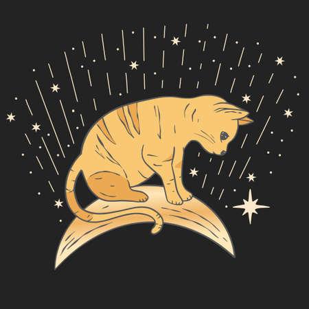 Celestial cat sacred astrology boho esoteric art. Nursery animal art with moon and star.