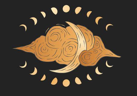 Lunar celestial cloud and moon card. Sacred astrology boho esoteric golden poster. Gold star art.