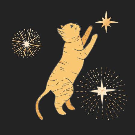 Celestial cat sacred astrology boho esoteric art. Nursery animal golden art.