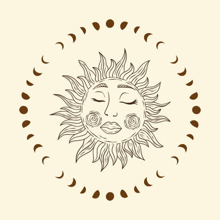 Celestial sun star and moon vector. Sacred dreaming line astrology boho esoteric art.
