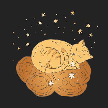 Celestial cat sacred astrology boho esoteric art. Nursery animal sleeping on a cloud.