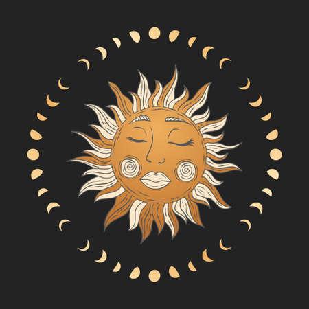 Celestial sun star golden vector. Sacred dreaming astrology boho esoteric card art.