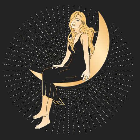 Celestial woman sacred astrology feminine boho esoteric golden and black black card art. Girl on the moon and star magic vector poster. 矢量图像