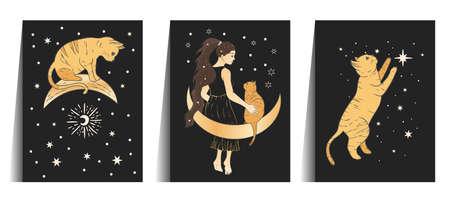 Celestial woman and cat sacred astrology boho esoteric art. Moon and star golden magic girl black card set.