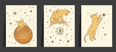 Fantasy cat celestial astrology nursery art. Boho esoteric card set. Golden art moon and star magic vector collection. 矢量图像