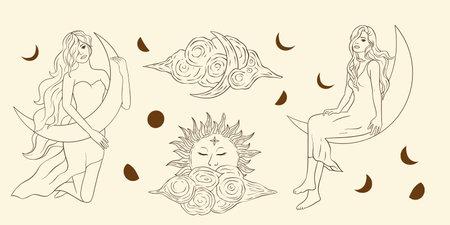 Astrology woman celestial sacred boho lady line art. Esoteric linear cloud moon and star vector. 矢量图像