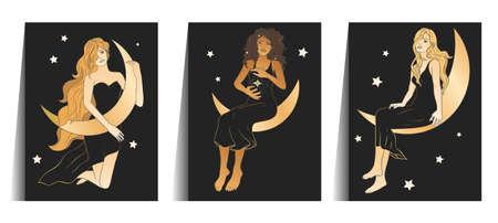 Celestial woman sacred astrology feminine boho esoteric golden and black black poster art. Moon and star magic vector card set.