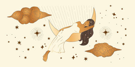 Celestial Dreaming Woman. African American lady sacred beauty. Astrology boho esoteric moon and sky girl golden art. 矢量图像