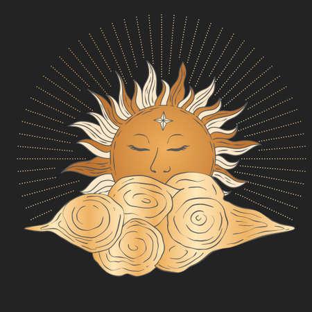 Celestial sun and cloud star golden vector. Sacred dreaming astrology boho esoteric card art.