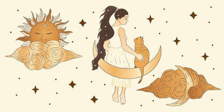 Celestial girl and a cat sacred astrology woman boho esoteric golden art. Moon, sun, cloud and star magic vector card.