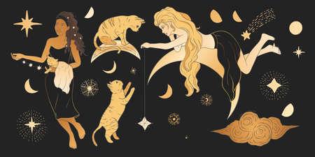 Celestial woman and cat sacred astrology feminine boho esoteric golden and black black art. Moon and star magic golden vector.