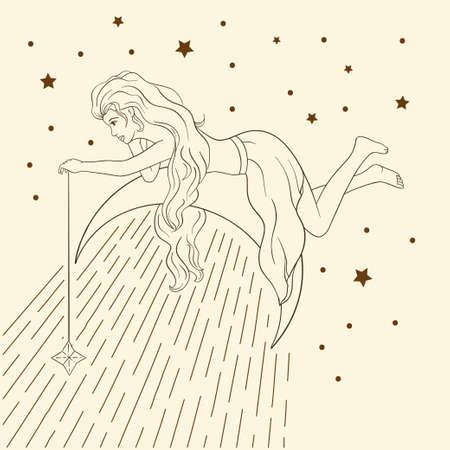 Card astrology woman poster. Celestial sacred boho lady line art. Esoteric linear moon star magic beautiful vector.
