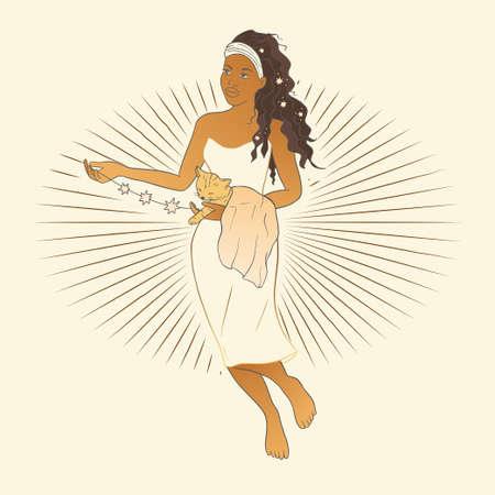 Celestial Woman. African American lady sacred, beauty poster. Astrology boho esoteric moon girl golden art. 矢量图像