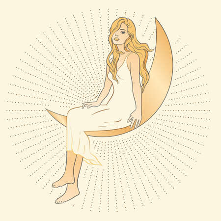 Celestial feminine blonde girl lady sacred woman astrology boho esoteric golden art. Woman with moon and star poster. 矢量图像