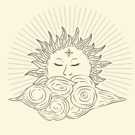 Celestial sun star vector. Sacred dreaming line astrology boho esoteric art.