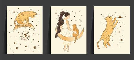 Celestial woman and cat sacred astrology boho esoteric art. Moon and star magic girl golden card set. 矢量图像