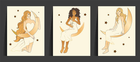 Celestial Woman. African American lady sacred, beauty card set. Astrology boho esoteric moon girl with cat golden art.