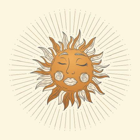 Celestial sun star vector. Sacred dreaming astrology boho esoteric art. 矢量图像