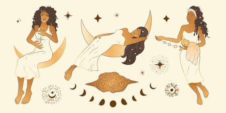 Celestial Woman. African American lady sacred, beauty clipart collection. Astrology boho esoteric moon girl golden art.