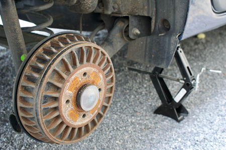 Close-up view on a drum brake of a car Stock Photo - 78434398