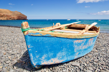 Rowing boat (paternoster) at the beach Stock Photo - 81780165