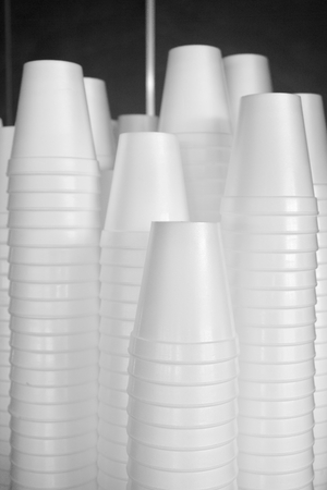 Stack of plastic cups Stock Photo