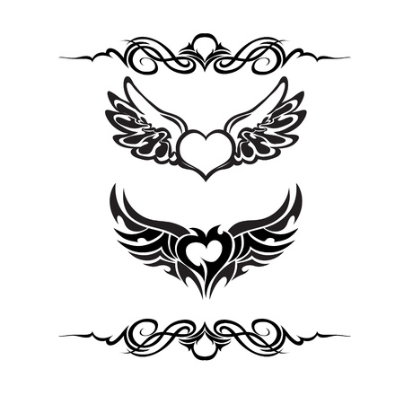 tribali: Tribal tattoo vector set Vettoriali