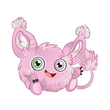 hair tuft: Pink fluffy little animal