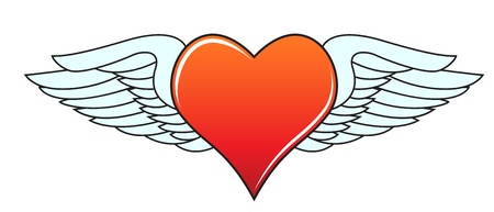 Heart with angelic wings Vector