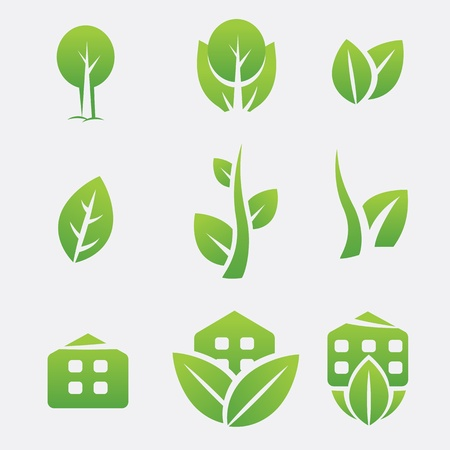 Green eco icons Illustration