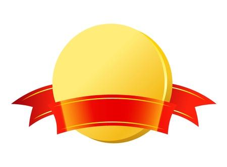 piece d or: Pi�ce d'or avec ruban rouge Illustration