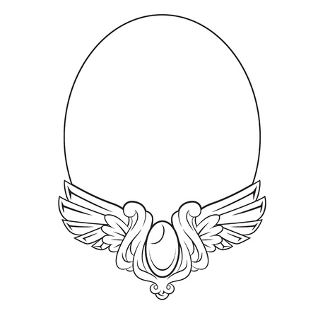 round: Round frame with decorative element Illustration