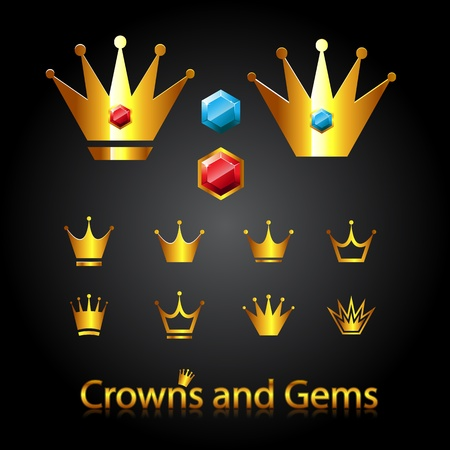 Crowns and gems Vector